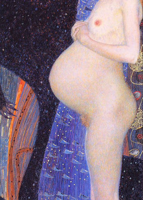 Pd. Reproduction Greeting Card featuring the painting Hope I 1903 By Gustav Klimt by Pg Reproductions