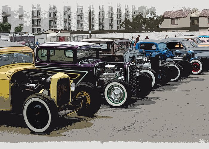 Hot Rods Greeting Card featuring the photograph Hot Rod Row by Steve McKinzie