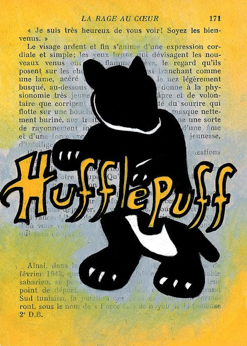 Harry Greeting Card featuring the painting Hufflepuff Badger by Jera Sky