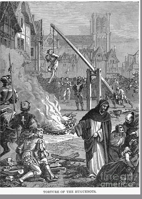 16th Century Greeting Card featuring the photograph Huguenots: Persecution by Granger