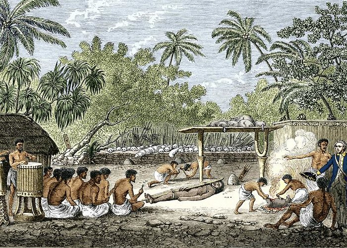 James Cook Greeting Card featuring the photograph Human Sacrifice In Tahiti, Artwork by Sheila Terry