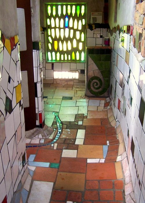 Restroom Greeting Card featuring the photograph Hundertwasser Restroom by Peter Mooyman