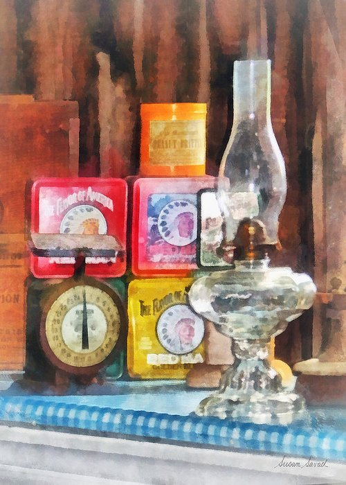 Lamp Greeting Card featuring the photograph Hurricane Lamp And Scale by Susan Savad