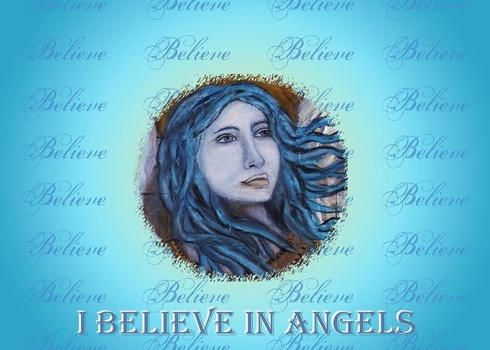 Angel Greeting Card featuring the mixed media I Believe In Angels by The Art With A Heart By Charlotte Phillips