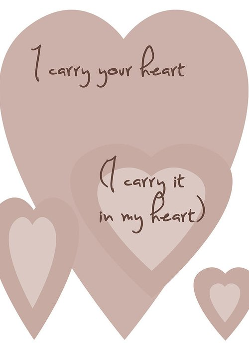 Simple Greeting Card featuring the digital art I Carry Your Heart I Carry It In My Heart - Dusky Pinks by Georgia Fowler