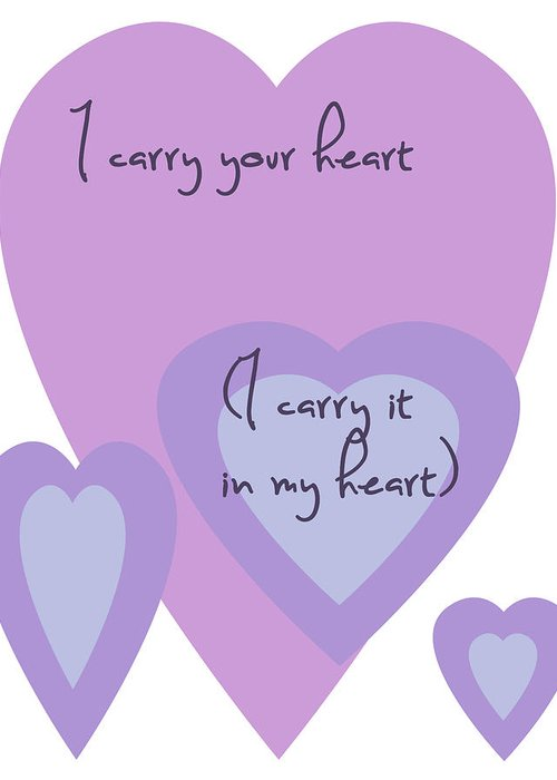 Simple Greeting Card featuring the digital art I Carry Your Heart I Carry It In My Heart - Lilac Purples by Georgia Fowler