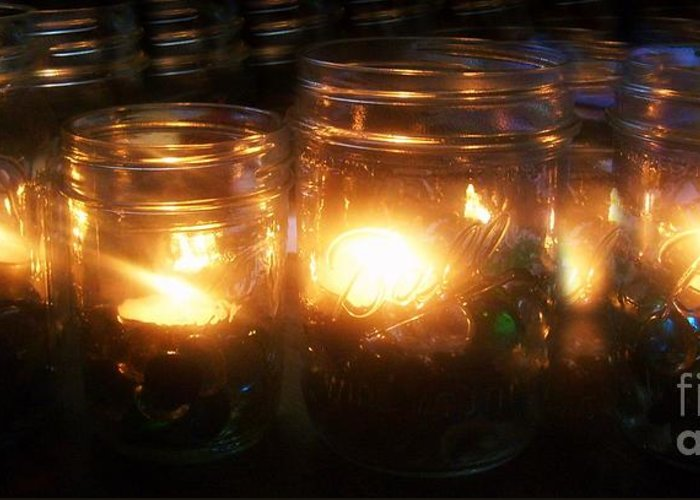 Candles Greeting Card featuring the photograph Illuminated Mason Jars by Christy Beal