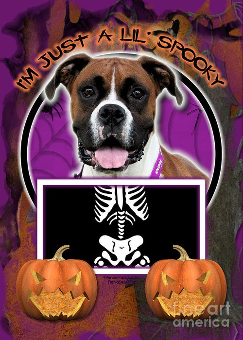 Boxer Greeting Card featuring the digital art I'm Just A Lil' Spooky Boxer by Renae Laughner