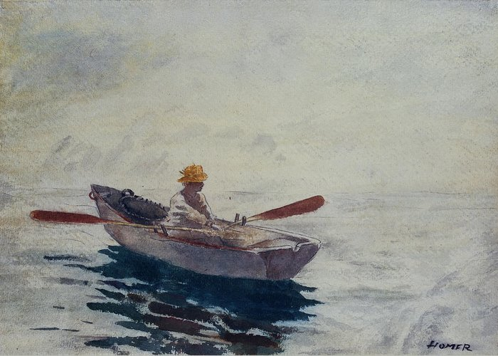 In A Boat (w/c Greeting Card featuring the painting In A Boat by Winslow Homer