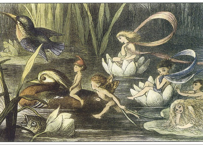Richard Doyle Greeting Card featuring the painting In Fairyland Fairies And Waterlilies by Richard Doyle