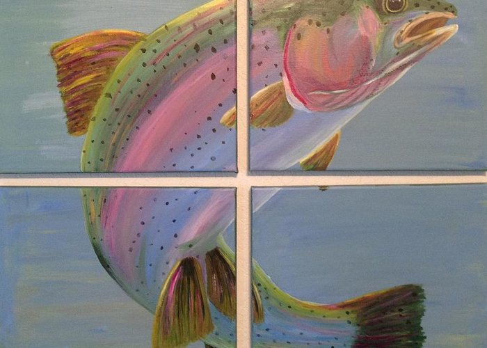 Rainbow Trout Greeting Card featuring the painting In Rainbows by Jennifer J Folsom