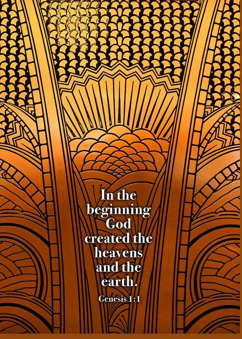 Genesis Greeting Card featuring the digital art In The Beginning by Geoff Strehlow