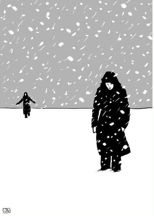 Snow Storm Greeting Card featuring the drawing In The Snow by Giuseppe Cristiano