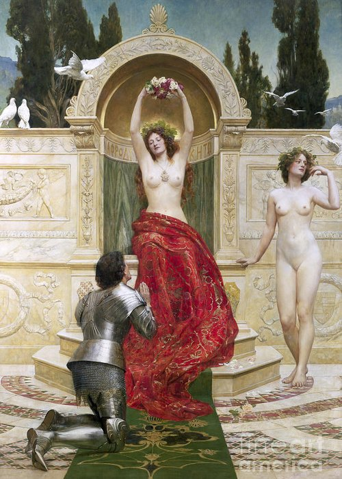 German Legend;armour;dove;pre-raphaelite;doves;nude;female;goddess;love;enchanted;bewitched In The Venusburg (tannhauser) Greeting Card featuring the painting In The Venusburg by John Collier