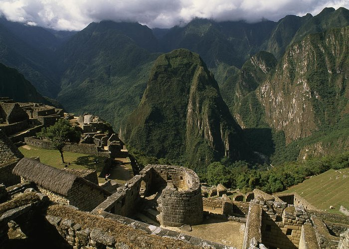 Color Image Greeting Card featuring the photograph Inca Ruins At Machu Picchu Are Biggest by Gordon Wiltsie