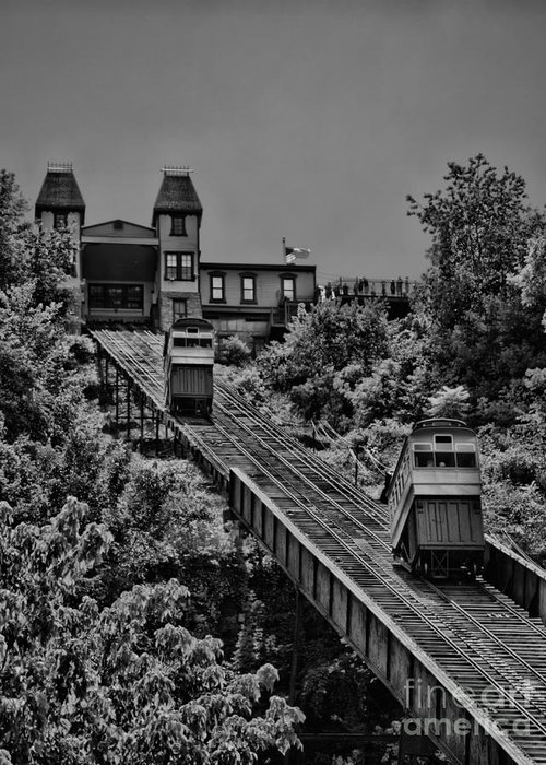 Incline Greeting Card featuring the photograph Incline Bw by Arthur Herold Jr