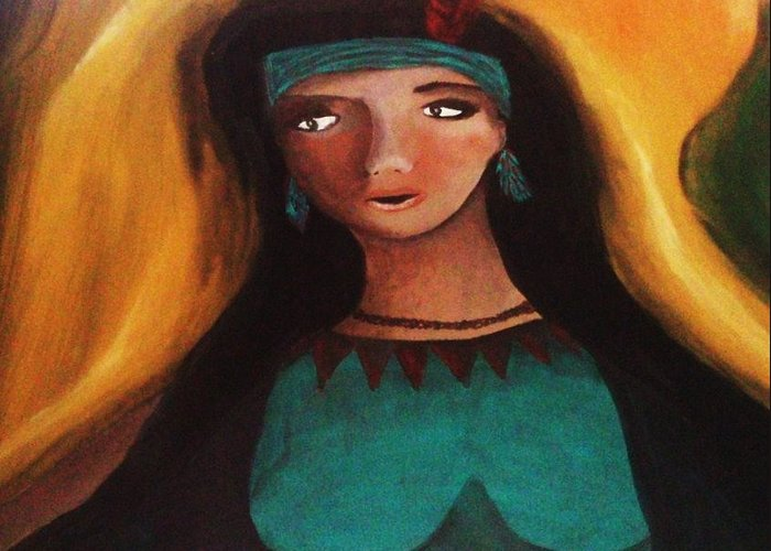 Nature Greeting Card featuring the painting Indian Girlfriend by Vickie Meza
