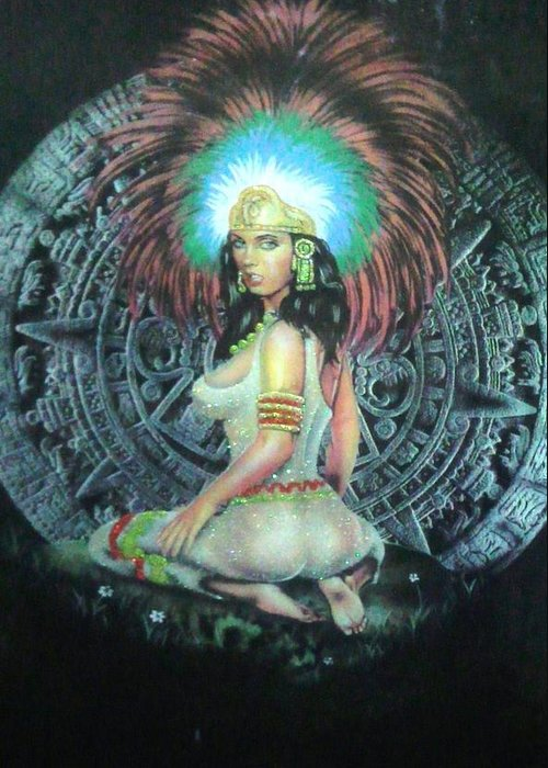 Calendar Greeting Card featuring the painting Indian Woman by Unique Consignment