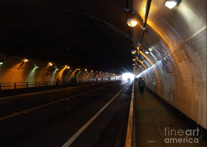 San Francisco Greeting Card featuring the photograph Inside The Stockton Street Tunnel In San Francisco . 7d7363.3 by Wingsdomain Art and Photography