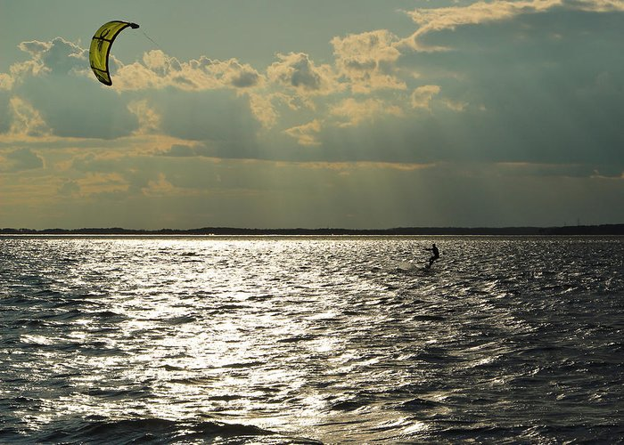 Kite-boarding Greeting Card featuring the photograph Into The Light by DK Hawk