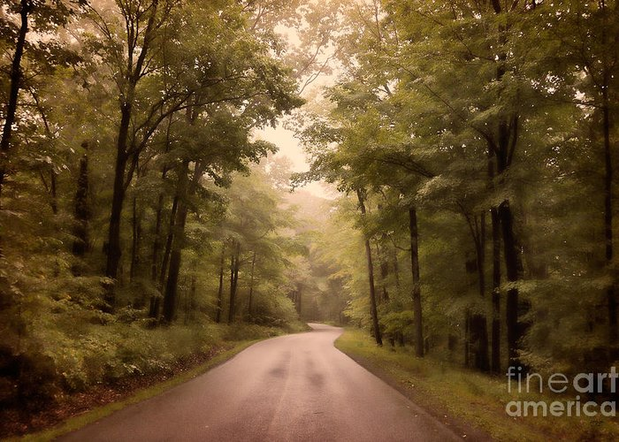 Road Greeting Card featuring the photograph Into The Mists by Lois Bryan