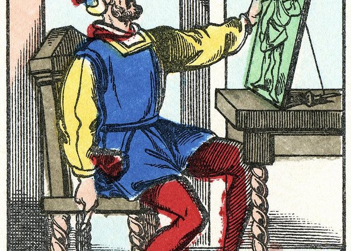 Saint Christopher Greeting Card featuring the photograph Invention Of Engraving, Medieval Europe by Cci Archives