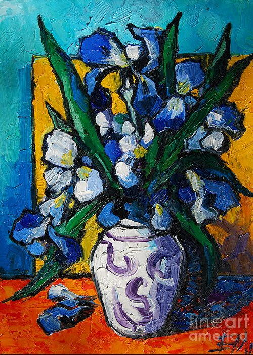 Irises Greeting Card featuring the painting Irises by Mona Edulesco