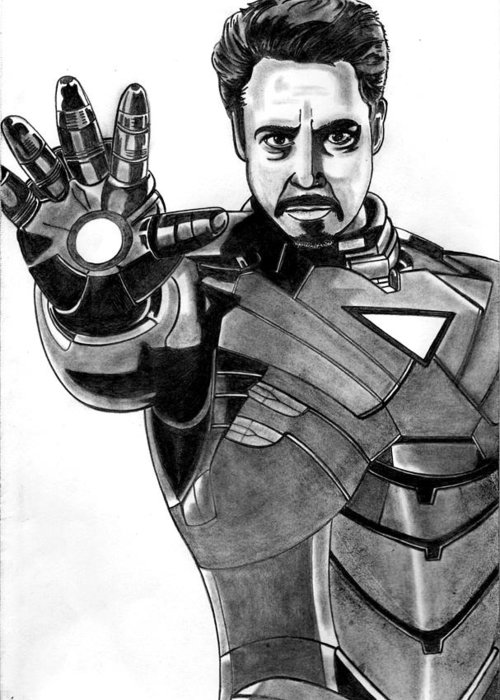 Iron Man Greeting Card featuring the drawing Iron Man by Ralph Harlow