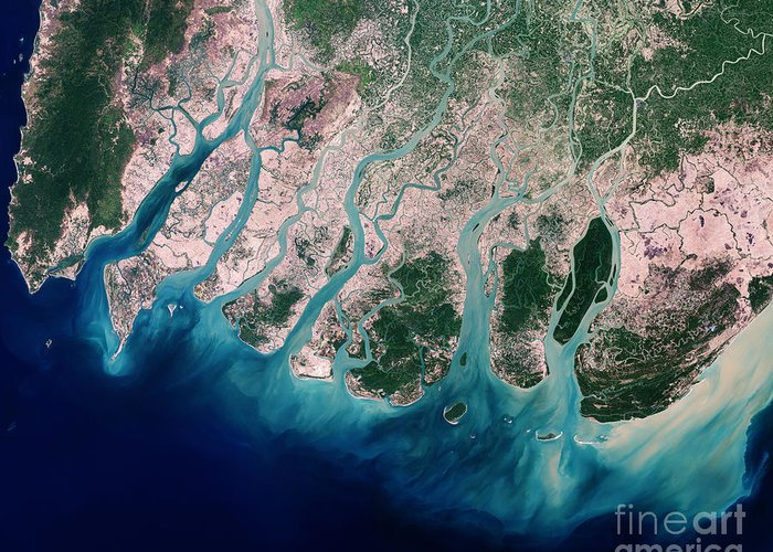 Satellite Greeting Card featuring the photograph Irrawaddy River Delta by Nasa