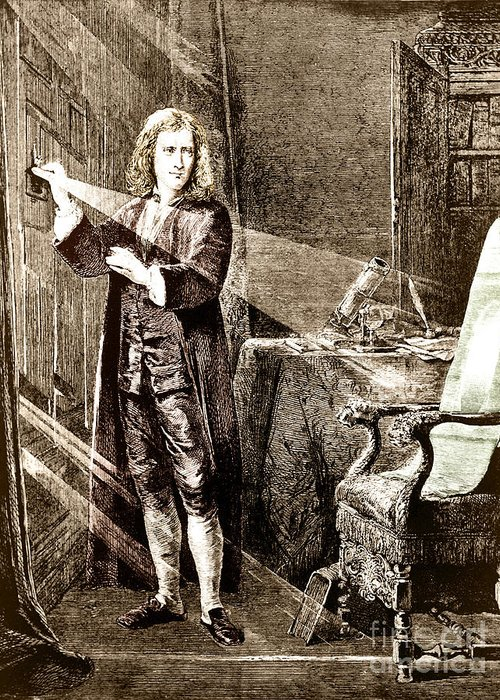 Sir Isaac Newton Greeting Card featuring the photograph Isaac Newton Ray Of Light by Science Source