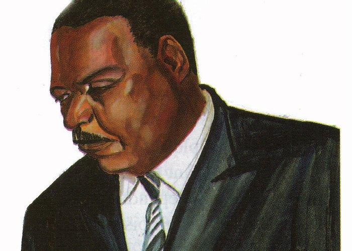 Portraits Greeting Card featuring the painting Issa Hayatou by Emmanuel Baliyanga