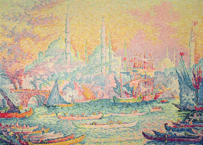 Neo-impressionist; Pointillist; Landscape; Hagia; Byzantine Architecture; Rowing Boat; Minaret; Constantinople Greeting Card featuring the painting Istanbul by Paul Signac