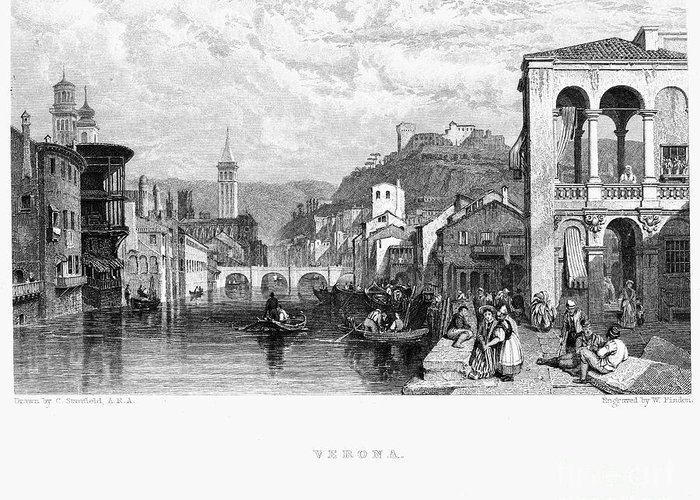 1833 Greeting Card featuring the photograph Italy: Verona, 1833 by Granger