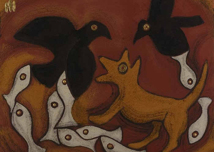 Two Ravens Greeting Card featuring the painting Jackal Dream by Sophy White