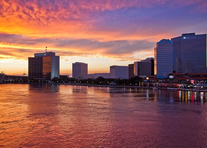 Clouds Greeting Card featuring the photograph Jacksonville Skyline At Dusk by Debra and Dave Vanderlaan