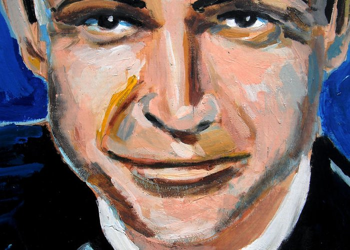 James Greeting Card featuring the painting James Bond by Jon Baldwin Art