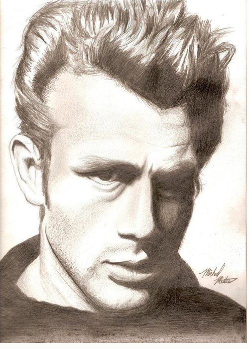 James Greeting Card featuring the drawing James Dean by Michael Mestas