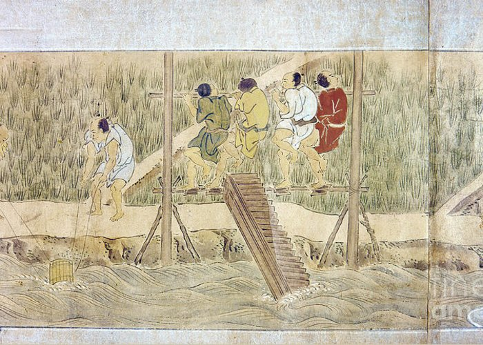 16th Century Greeting Card featuring the photograph Japan: Irrigation, C1575 by Granger
