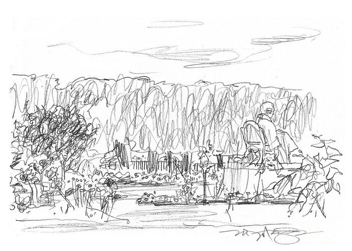 Paris Greeting Card featuring the drawing Jardin Des Plantes by Marilyn MacGregor
