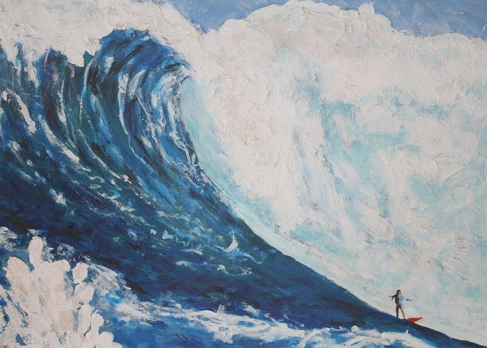 Professionals Surfing The Largest Waves In The World. I Love The Mixed Medias I Use Greeting Card featuring the painting Jaws Peahi Maui Hawaii by Giorgia Piekarski