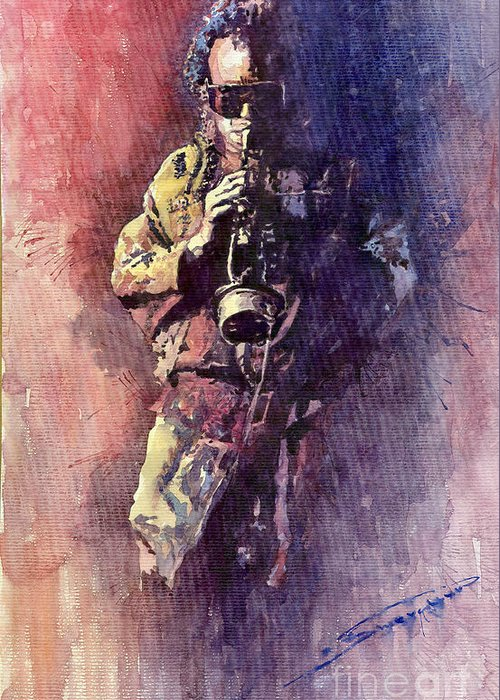 Watercolor Greeting Card featuring the painting Jazz Miles Davis Maditation by Yuriy Shevchuk