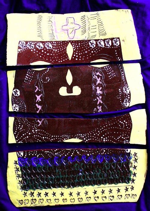 Jesus Christ Greeting Card featuring the ceramic art Jesus - Yesu by Gloria Ssali