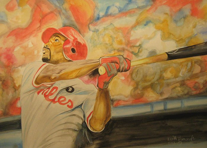 Baseball Greeting Card featuring the painting Jimmy Rollins by Keith Hancock