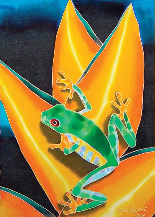 Flower Print Greeting Card featuring the painting Joe's Treefrog by Daniel Jean-Baptiste