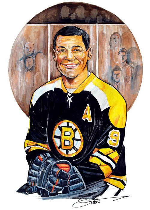 Johnny Bucyk Greeting Card featuring the painting Johnny Bucyk by Dave Olsen