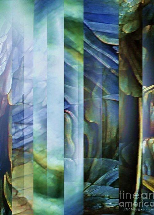 Blue Greeting Card featuring the digital art Journey Inward 1 by Brigetta Margarietta