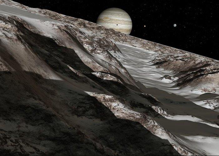 Ganymede Greeting Card featuring the photograph Jupiter From Ganymede, Artwork by Detlev Van Ravenswaay