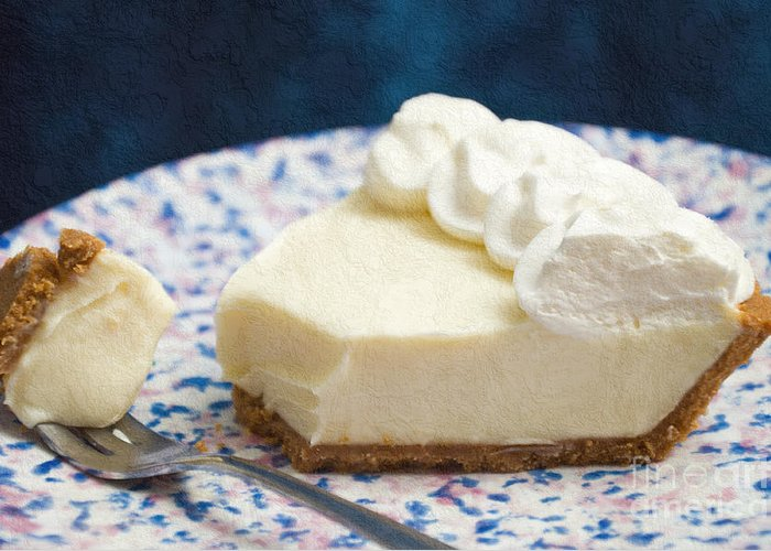 Key Lime Pie Greeting Card featuring the photograph Just One Bite Of Key Lime Pie by Andee Design