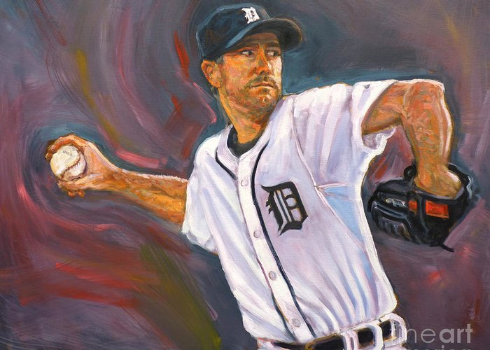Justin Verlander Greeting Card featuring the painting Justin Verlander Throws A Curve by Nora Sallows