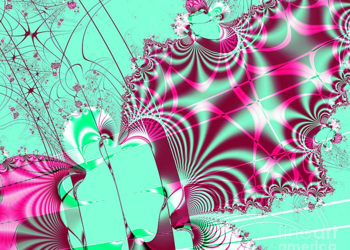Fractal Greeting Card featuring the digital art Kabuki by Wingsdomain Art and Photography